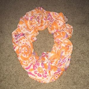 Orange and pink patterned infinity scarf